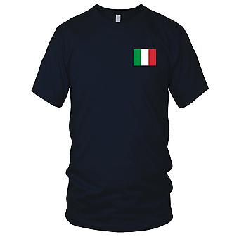 Italy Italian Country National Flag - Embroidered Logo - 100% Cotton T-Shirt Mens T Shirt