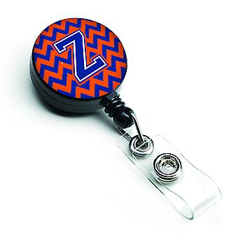 Letter Z Chevron oranje en blauw intrekbare Badge Reel