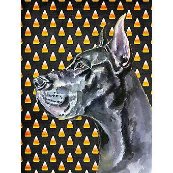 Schwarze Deutsche Dogge Candy Corn Halloween Flagge Leinwand Größe des Hauses