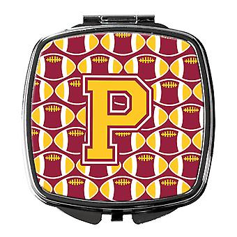 Letter P Football Maroon and Gold Compact Mirror