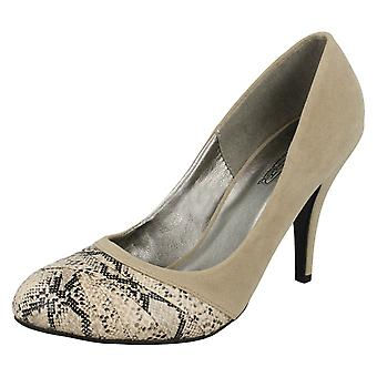 Ladies Spot On Heeled Court Shoe with Overlay Vamp