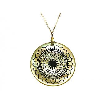 Gemshine - ladies - necklace - pendant - Locket - mother of Pearl - gold plated - grey - 3 cm