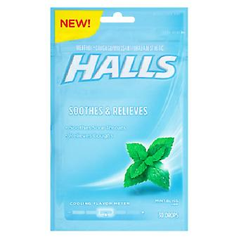 Halls Menthol Oral Anesthetic Drops Mint Bliss