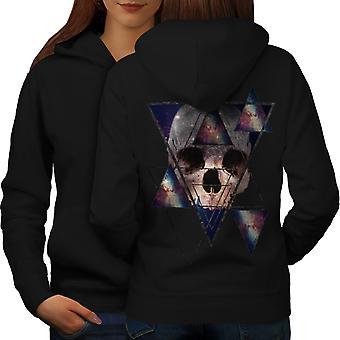Абстрактные геометрические черепа женщин BlackHoodie обратно | Wellcoda