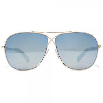 Tom Ford April Sunglasses In Shiny Rose Gold Blue Mirror