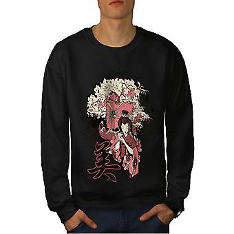 Meisje Sakura Art mannen BlackSweatshirt | Wellcoda