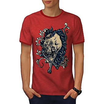 Rose Art Metal Rock Skull Men Heather Red / RedRinger T-shirt | Wellcoda