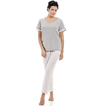 Camille Ladies Grey Cotton Blend Short Sleeve Full Length Pyjama Set