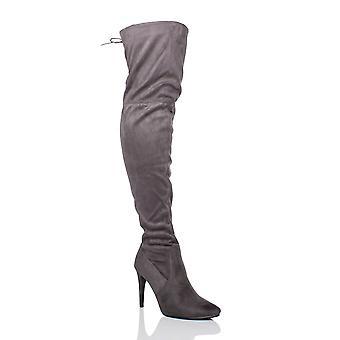 Ajvani mujeres tacón señaló toe sobre el rodilla estiramiento elástico botas de montar