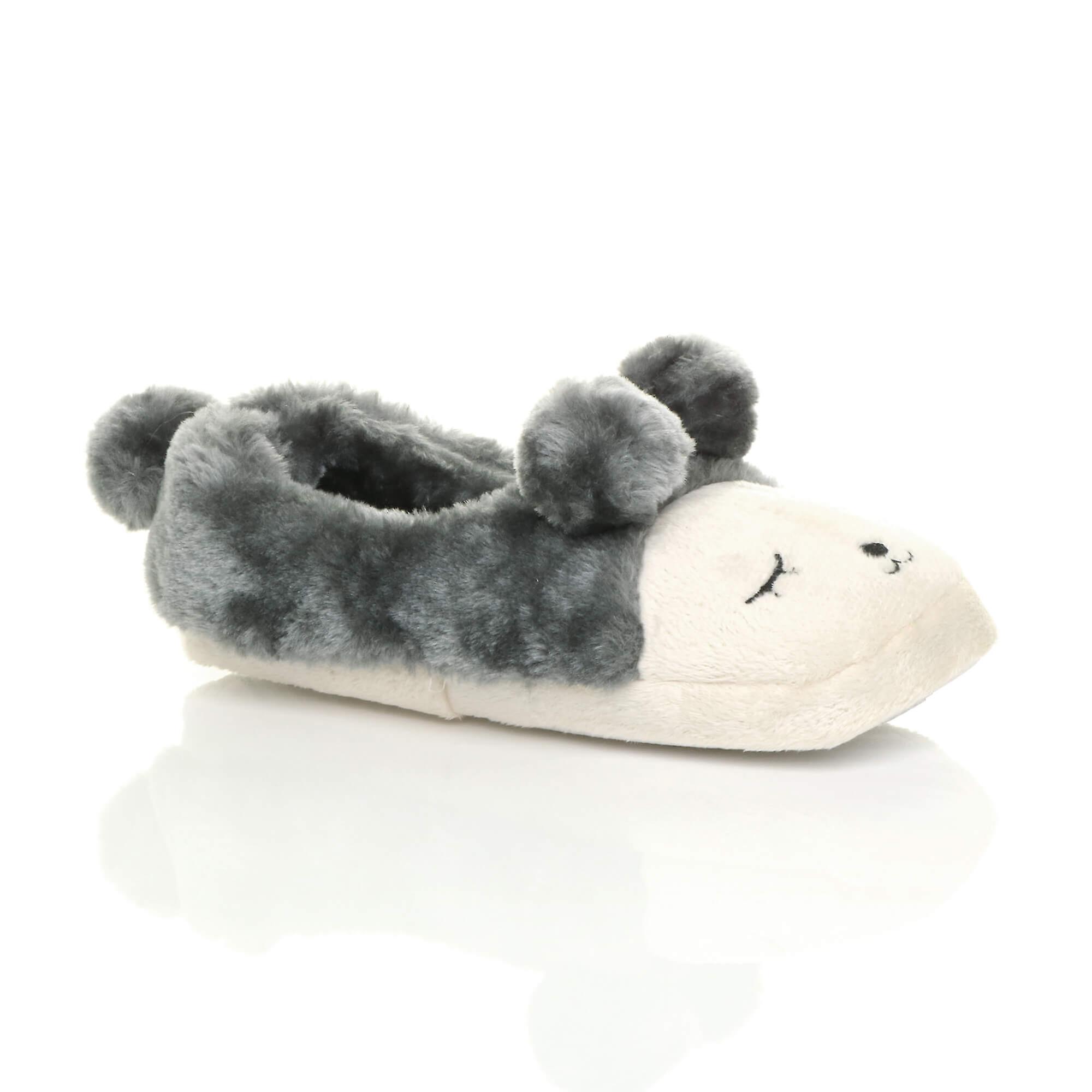slippers face pom fur bear lined womens animal Ajvani winter novelty shoes pom house ROAvWznH