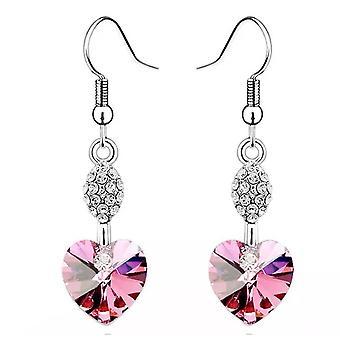 Dames de coeur Dangle forme Light Rose boucles d'oreilles charme