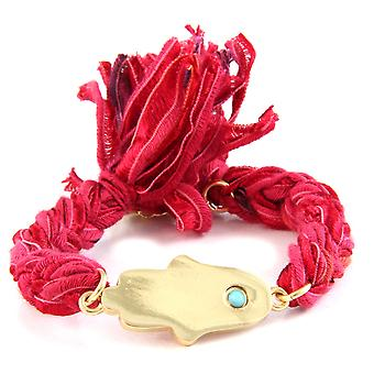 Ettika - Bracelet in yellow gold Hamsa and cotton ribbons braided Red