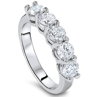 Platino 1CT cinque pietra diamante anello di nozze