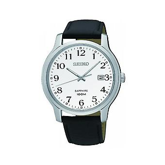 Seiko Quartz Black Leather Strap Men's Watch SGEH69P1
