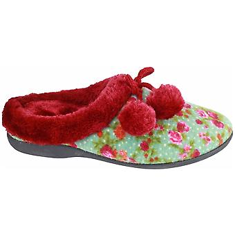 Mirak Ladies Chabilis Textile Fuzzy Faux Fur Collar Slipper Red