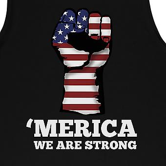 Merica We Strong Muscle Tee Mens Black Graphic Muscle Tank Top Gift