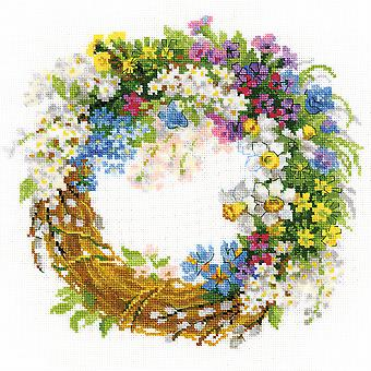 Wreath With Bird Cherry Counted Cross Stitch Kit-11.75