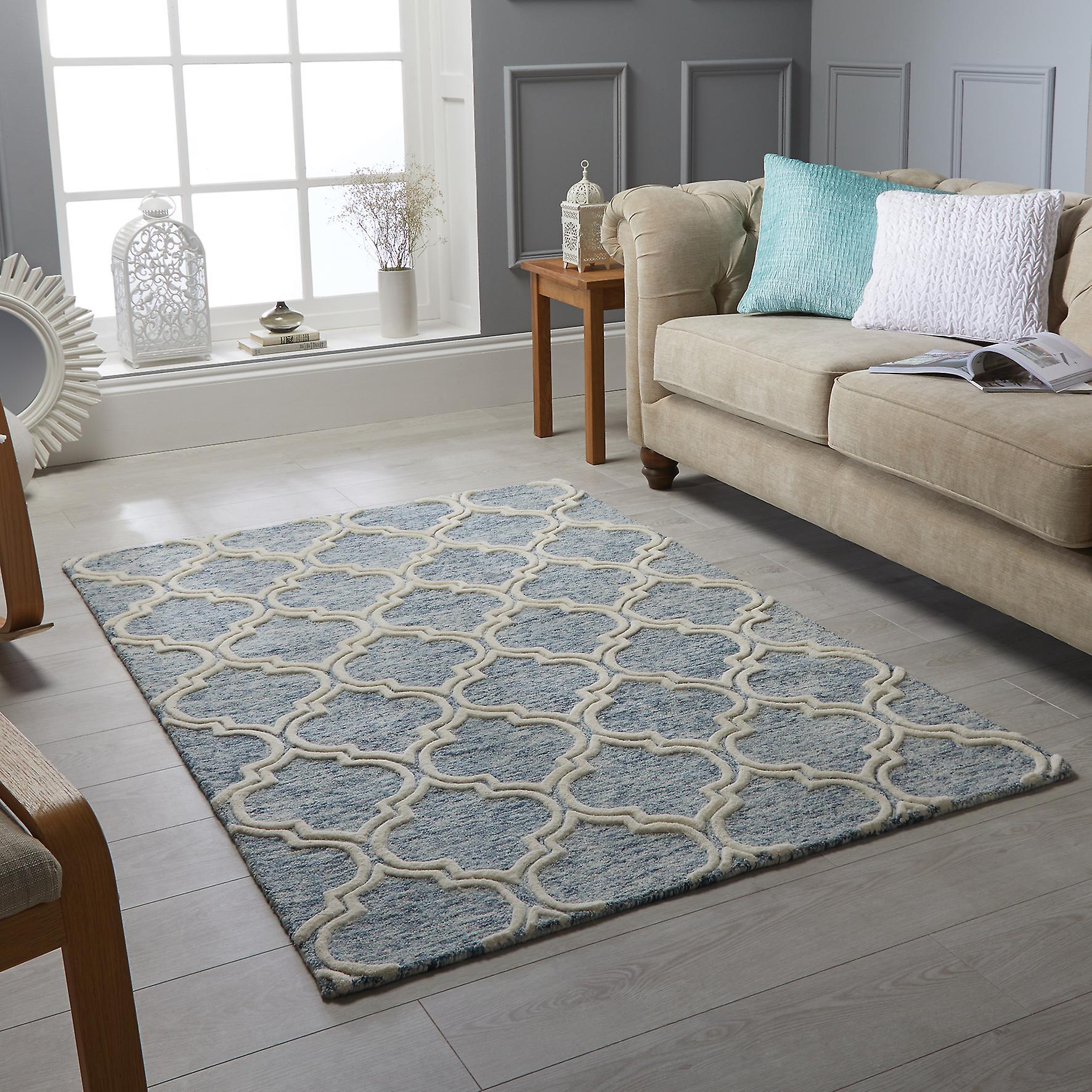 Tapis Medina tisserands bleu Rectangle tapis Plain presque ordinaire