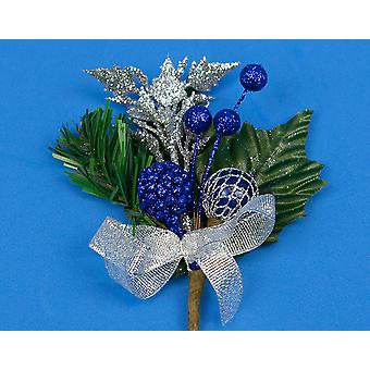 6 Christmas Floristry Picks with Blue Berries & Silver Trim