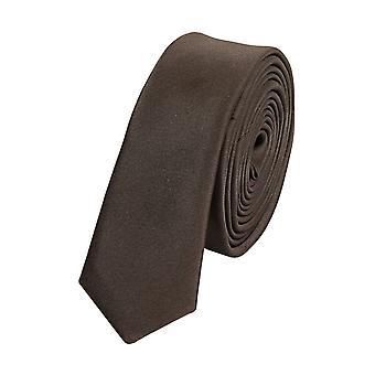 Knyta slips tie slips 3cm av brun uni Fabio Farini