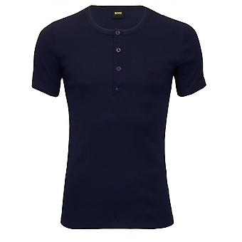Hugo Boss Retro gerippt Henley T-Shirt, Navy