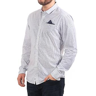 Scotch & Soda Ls Shirt With Small Square Print And Fixed Pochet
