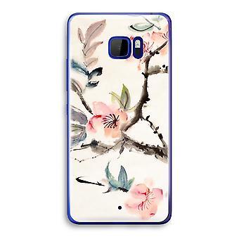 HTC U Ultra Transparent fodral (Soft) - Japenese blommor