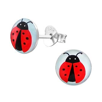 Lady Bug - 925 Sterling Silver Colourful Ear Studs - W19720x