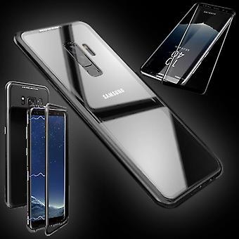 Para el imán de Samsung Galaxy S9 / metal / vidrio bolsa maleta transparente color negro + d 0,3 4 curvo vidrio duro H9