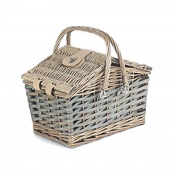 Poplar Antique Wash Swing Handle Picnic Basket