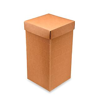10 Corrugated Kraft Card Gift Boxes with Lids - 12x12x24cm
