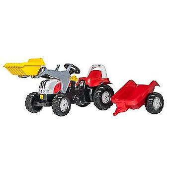 Rolly Toys 6190CVT 023936 RollyKid Steyr traktor med frontlastare och släpvagn
