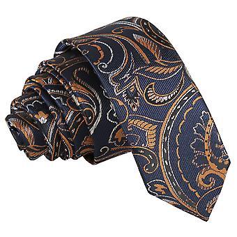 Navy & Gold Cypress Paisley Skinny Tie