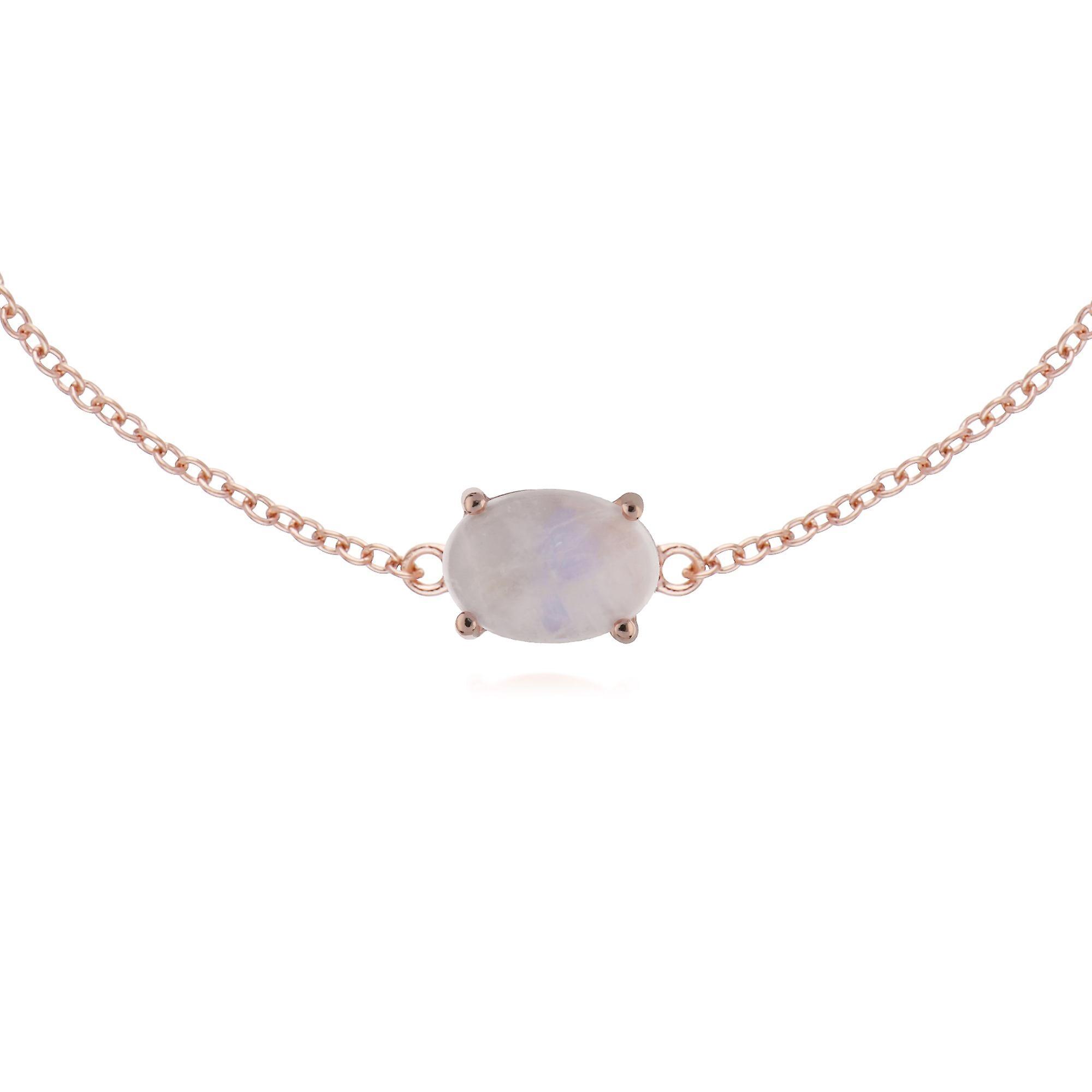 Gemondo Rose or Plated Sterling argent Rainbow Moonstone Oval 19cm Bracelet
