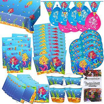 Mermaid Mermaid party box 63-teilig decorative Sea Virgin party party package