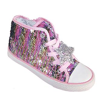 Girls pink reversible sequin high top trainers