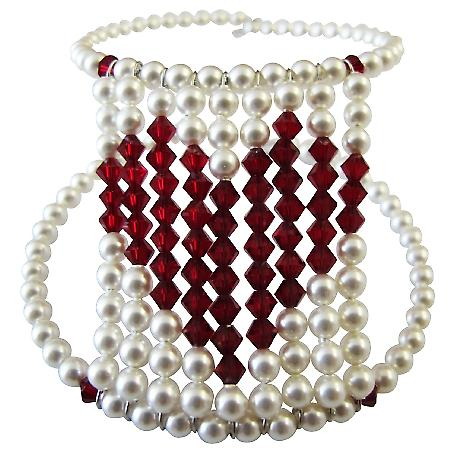 Passionate Love Express Jewelry Valentine Gift Give Your Heart Genuine Swarovski White Pearl With Siam Red Crystal Heart At Center Cuff Bracelet