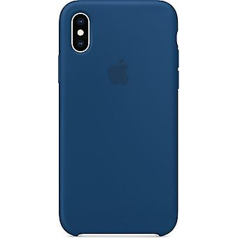 Originalverpackung Apple Silikon Mikrofaser Cover Hülle für iPhone XS - Horizont blau