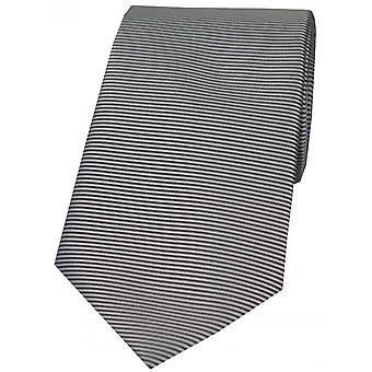 David Van Hagen Horizontal Ribbed Polyester Tie - Grey