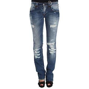 Galliano Blue Wash Cotton Blend Slim Fit Bootcut Jeans -- SIG3303024