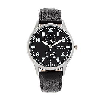 Elevon Turbine Leather-Band Watch - Silver/Black