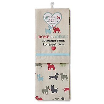 Cooksmart Pack of 2 Tea Towels, Country Pooches