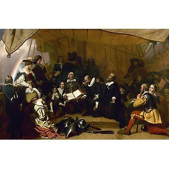 Embarkation of the Pilgrims,Robert Walter Weir,60x40cm