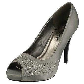 Ladies Spot On Stiletto Heel Peep Toe Evening Shoes F10238