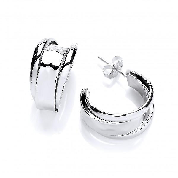 Cavendish French 3 Hoops Silver Stud Earrings