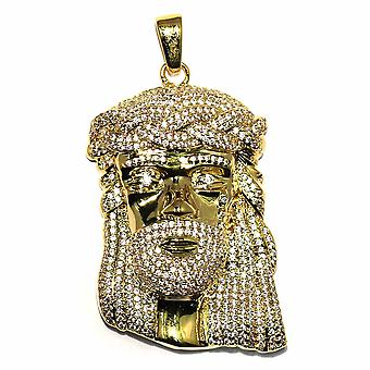 18k Gold Plated CZ XL Jesus Piece Pendant 2 inches