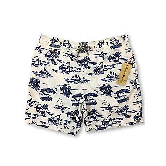 Tailor Vintage swim shorts in blue/white vacation print