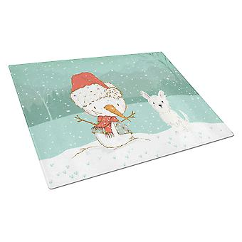 Westie Terrier Snowman Christmas Glass Cutting Board Large