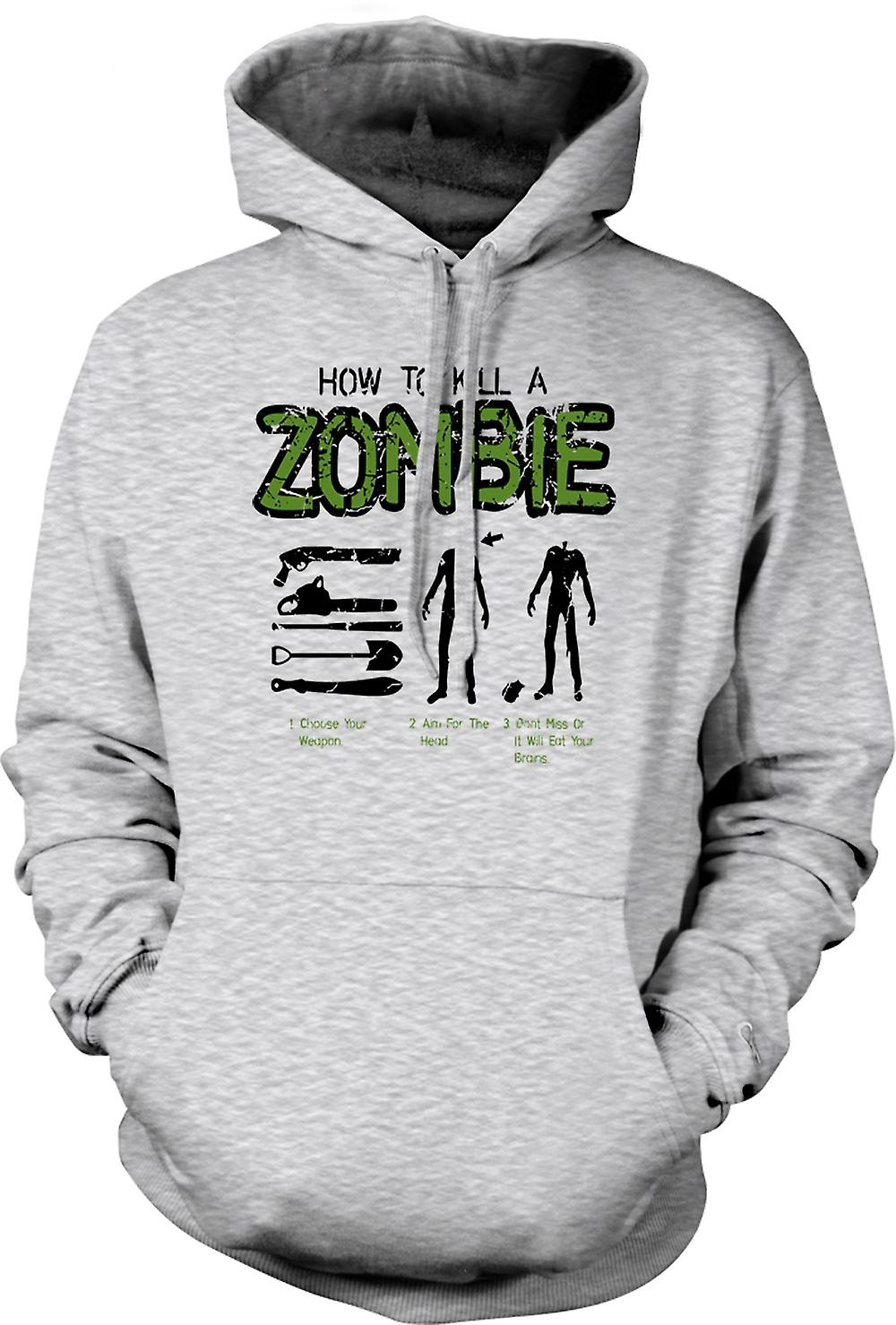 Mens Hoodie - How To Kill A Zombie - Funny