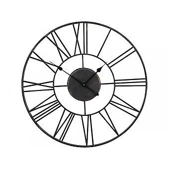 Horloge de mur noire de squelette de balancement